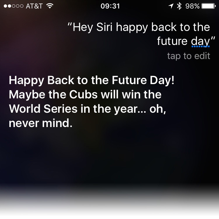 Siri Knows it's Back to the Future Day