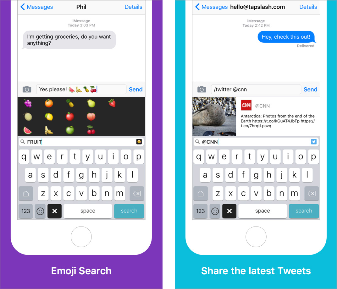 Slash Keyboard for iOS for Quick Sharing
