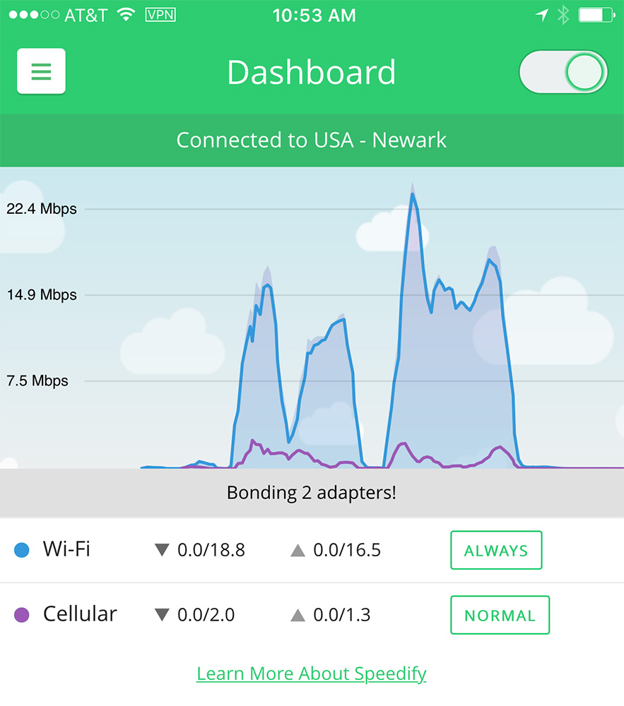 Speedify for iPhone helps you use the best data connection