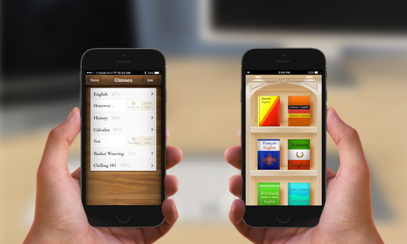 Grades and Languages Apps on iPhones