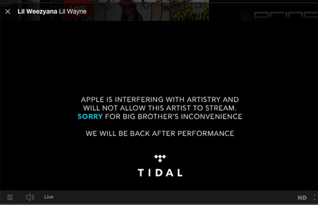 Screenshot from Tidal Stream of Drake Performance