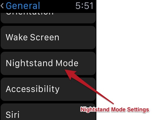 Nightstand Mode Settings in Settings App