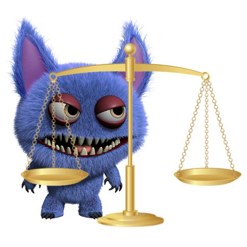patent troll with justice scales