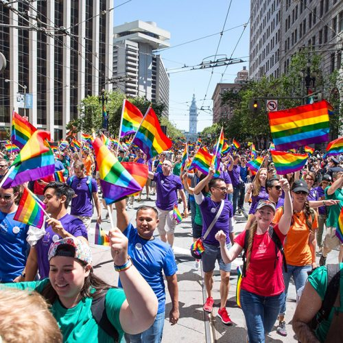 Apple employees marching in Pride parade