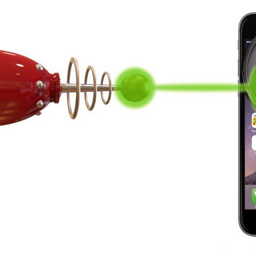 Ray gun shooting an iPhone