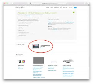 MacBook Pro product webpage