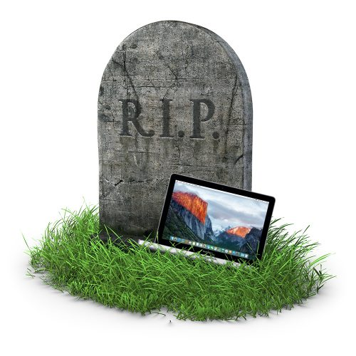 MacBook Pro and tombstone