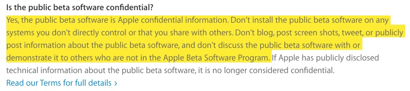 Apple public beta doesn't mean you can use it in public