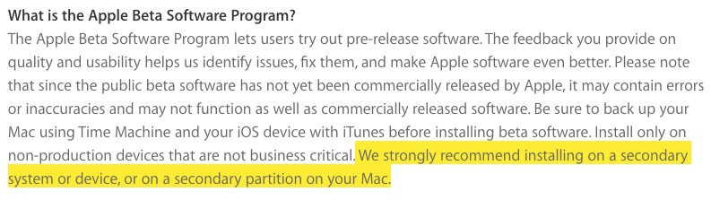 Apple public beta warning