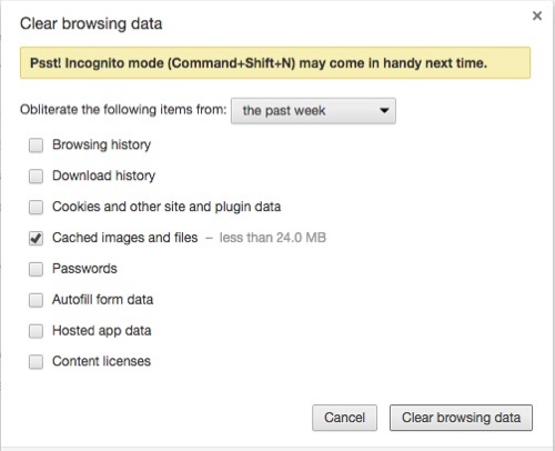 Chrome: clear browser cache