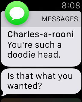 Apple Watch message notification: Doodie Head