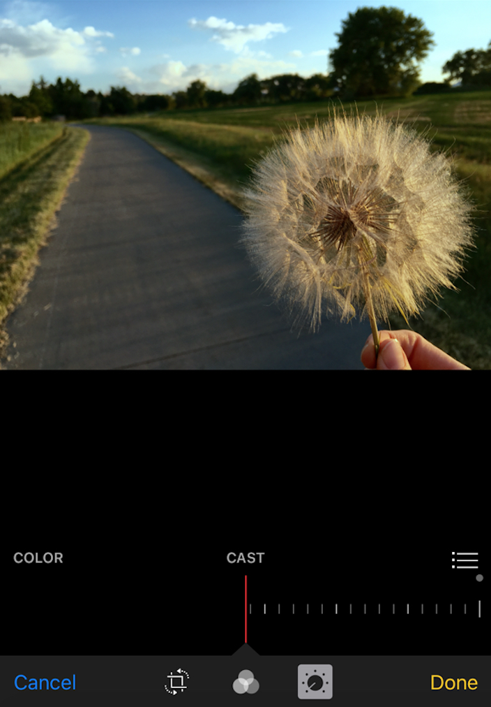 Drag Cast slider adjusts color in iOS Photos