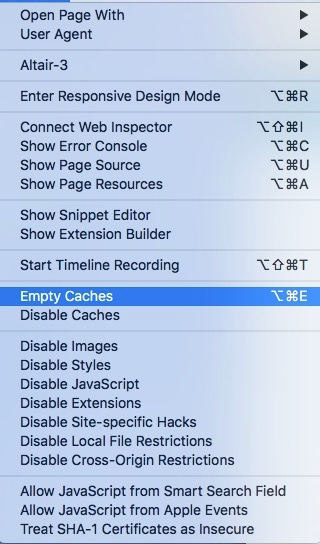 Safari Develop Menu, clear browser cache