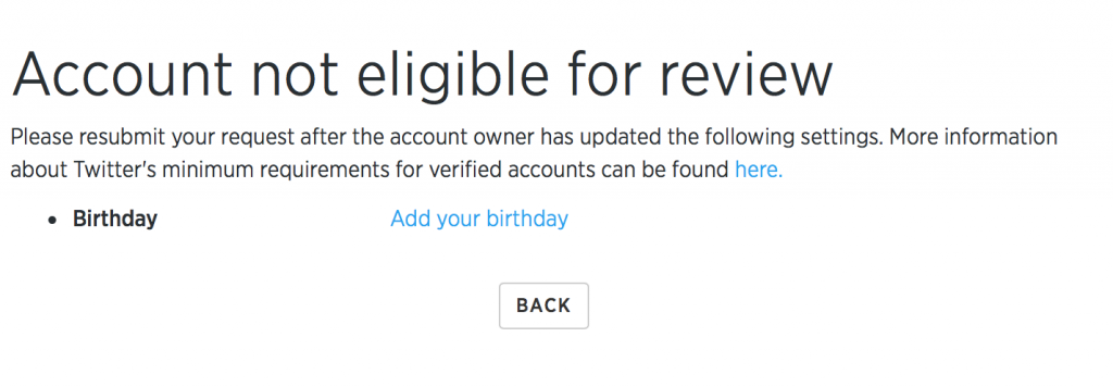Twitter Verification Process missing birthday