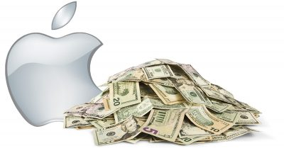 Apple with a big pile of money