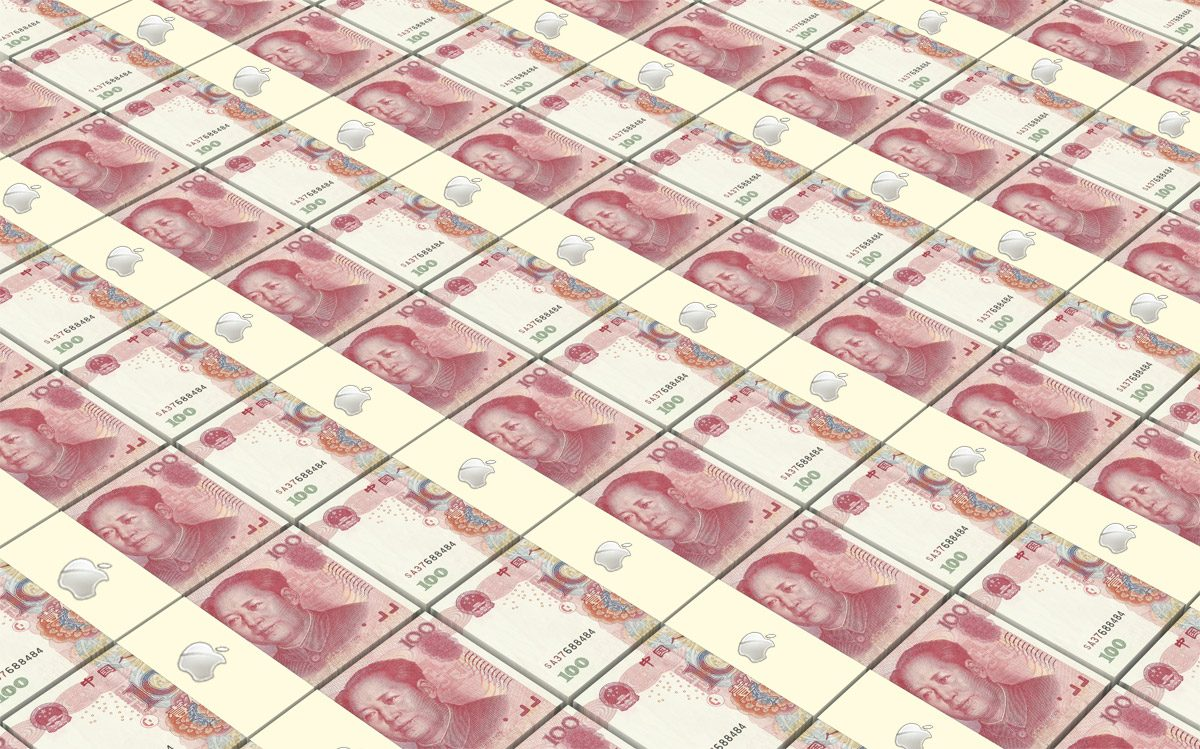 Apple in China - Chinese Yuan wrapped in the Apple logo