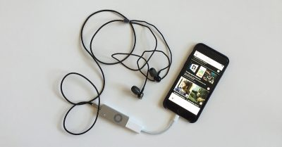 iPhone with audio dongle