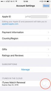 Turn off iTunes Match Renewal in iTunes & App Stores settings