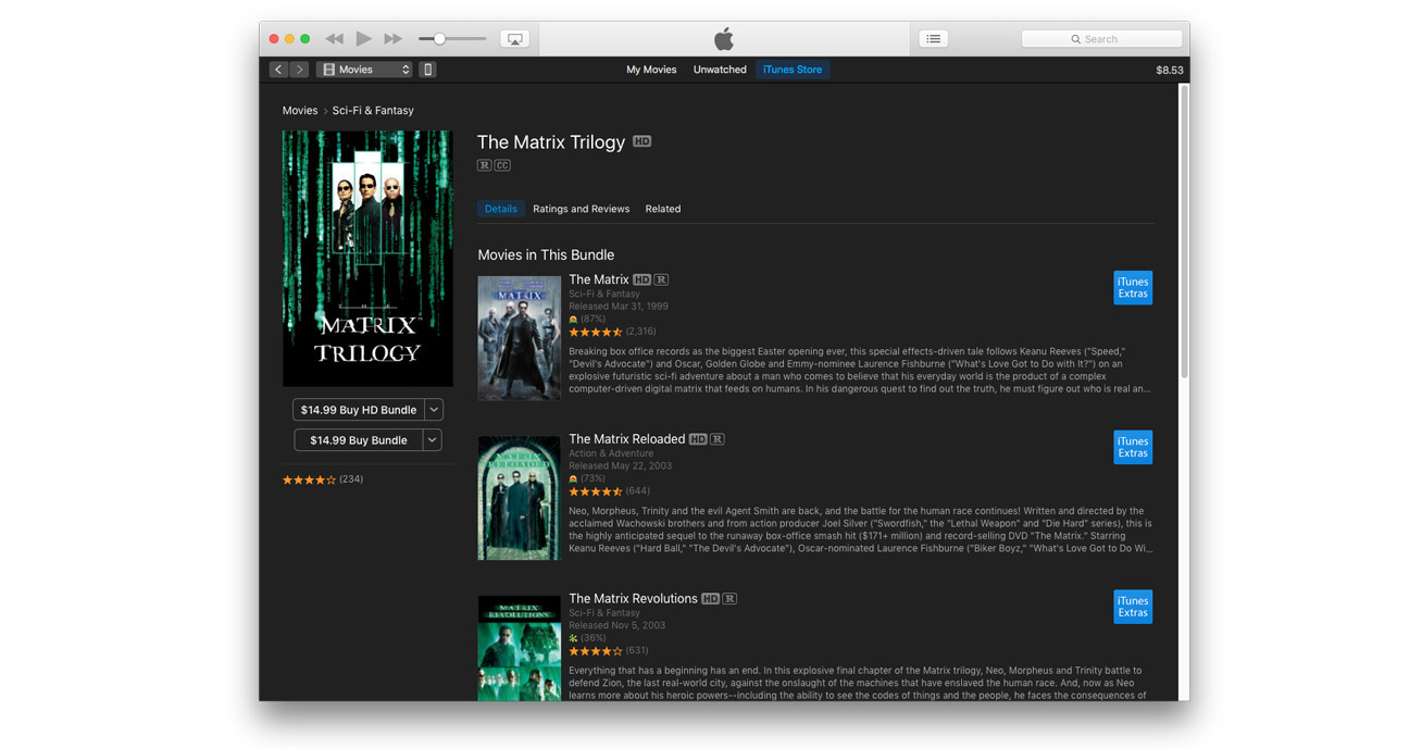 Grab The Matrix Trilogy in HD for $14.99 on the iTunes Store