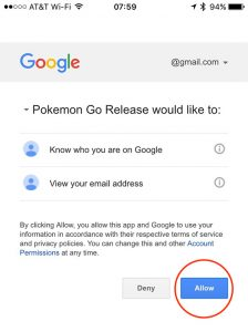 Pokémon GO's Google account permissions