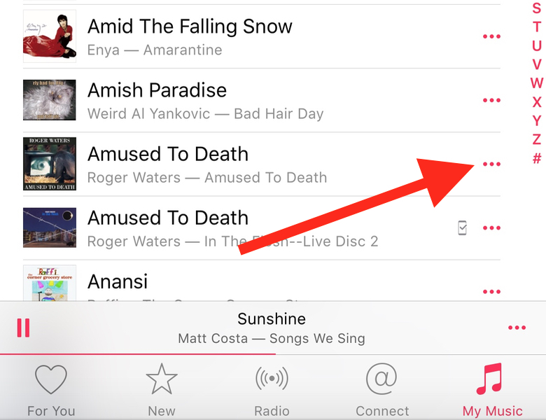 "iOS Music ""more"" Ellipsis"