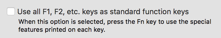 Function Keys setting in OS X System Preferences