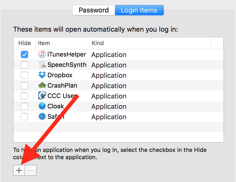 OS X Login Items Plus Button
