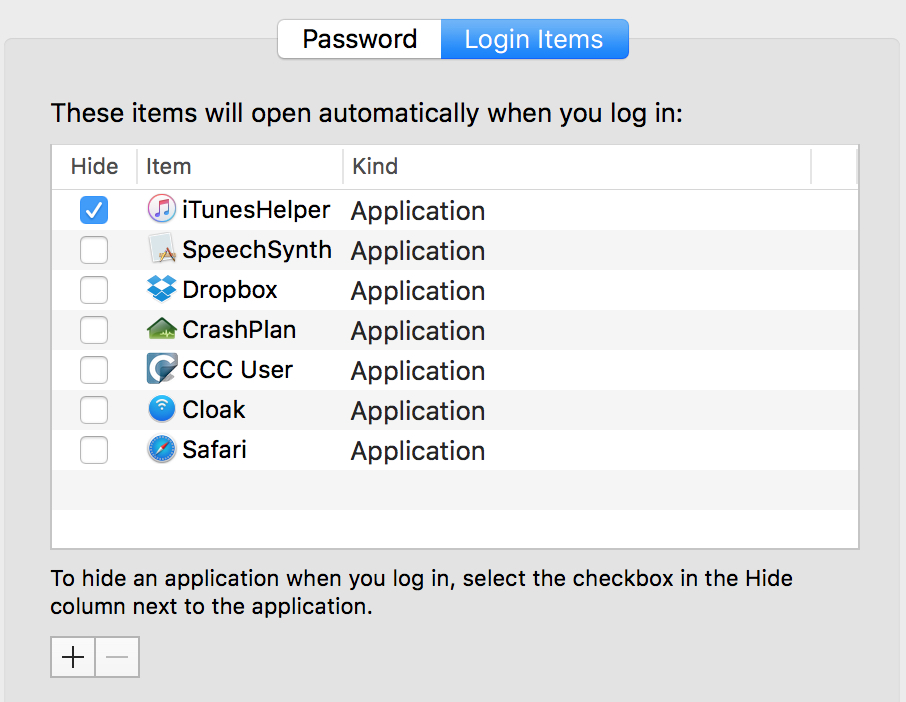 OS X Login Items