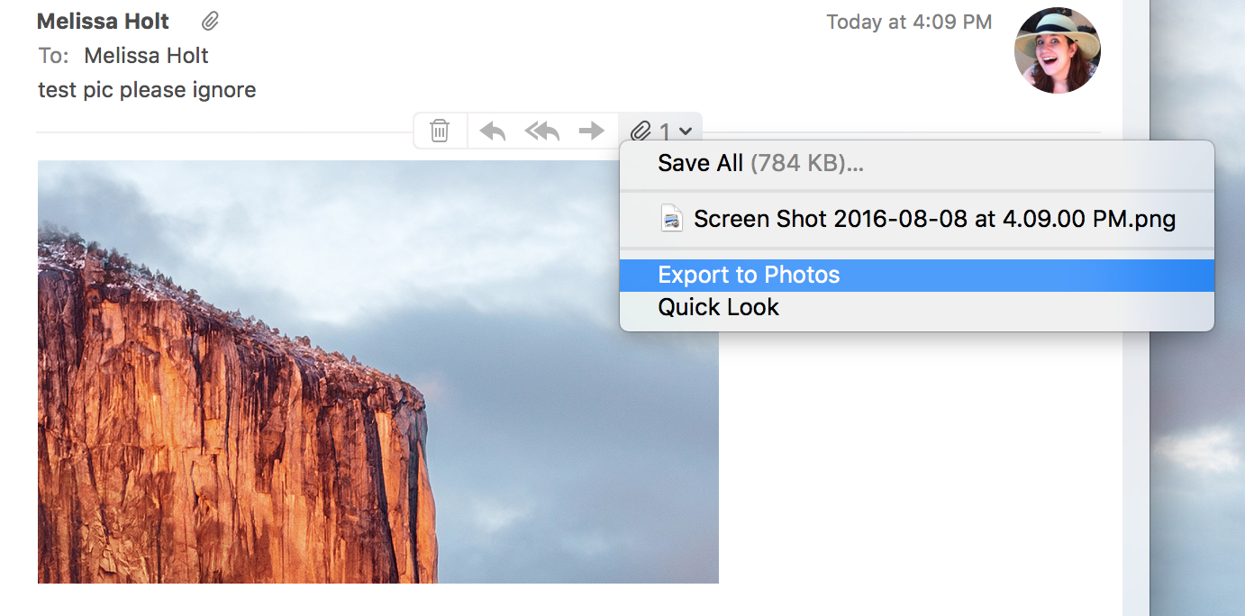 Mac Mail Drop-down menu