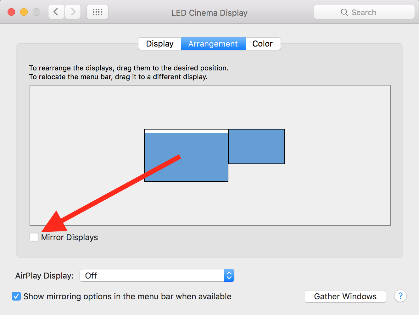 Mirror setting in OS X System Preferences