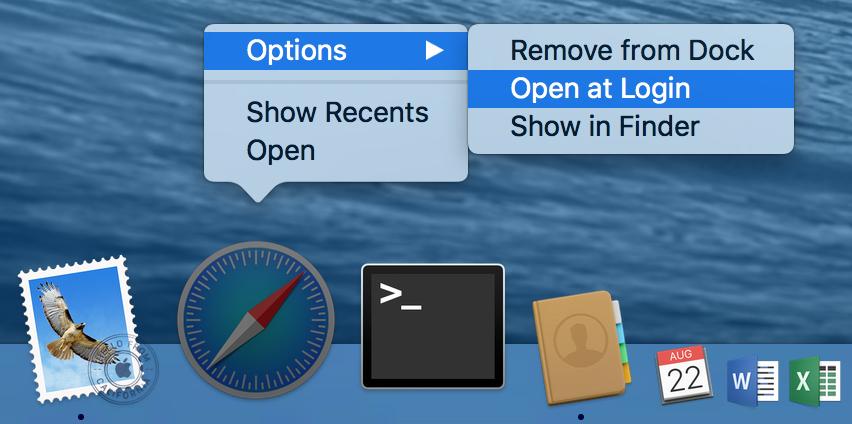 OS X Open at Login