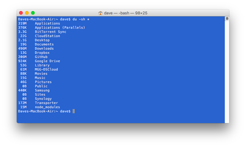 By issuing 'du -sh *' in the Terminal I can see the sizes of all my files and folders