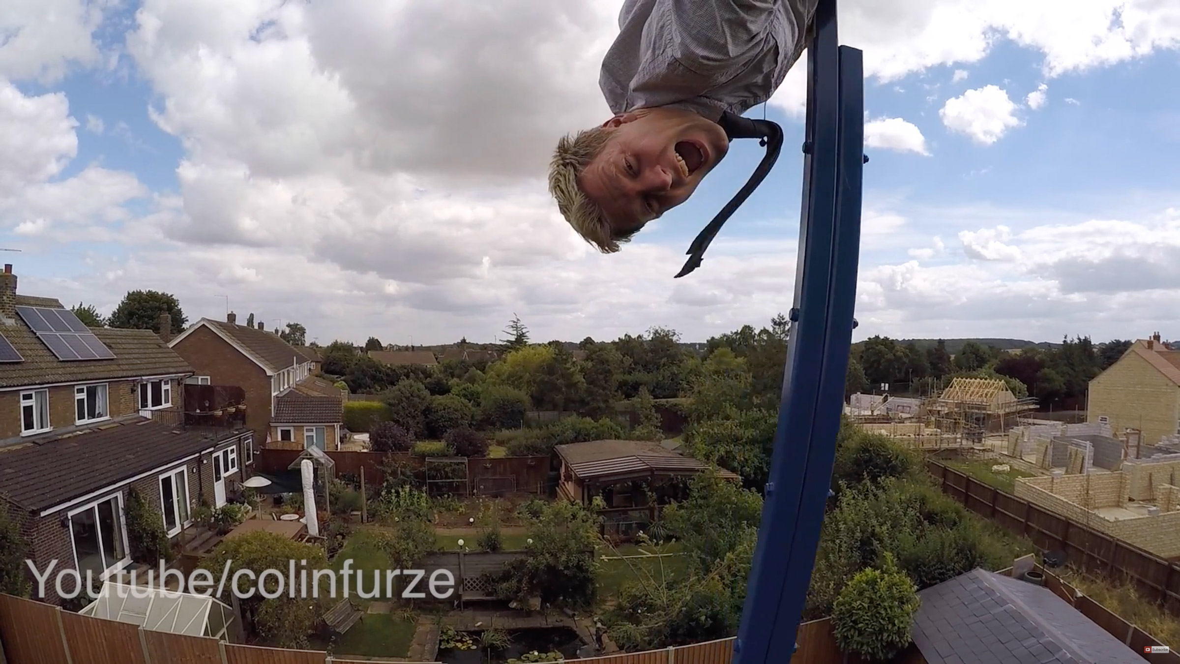 Colinfurze upside down on his 360-degree swing.