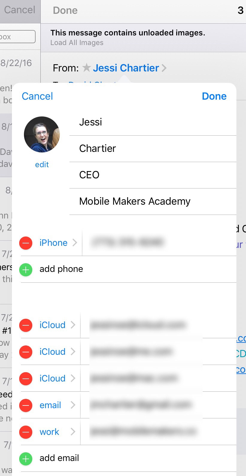 Edit Contacts In-Line iOS 10