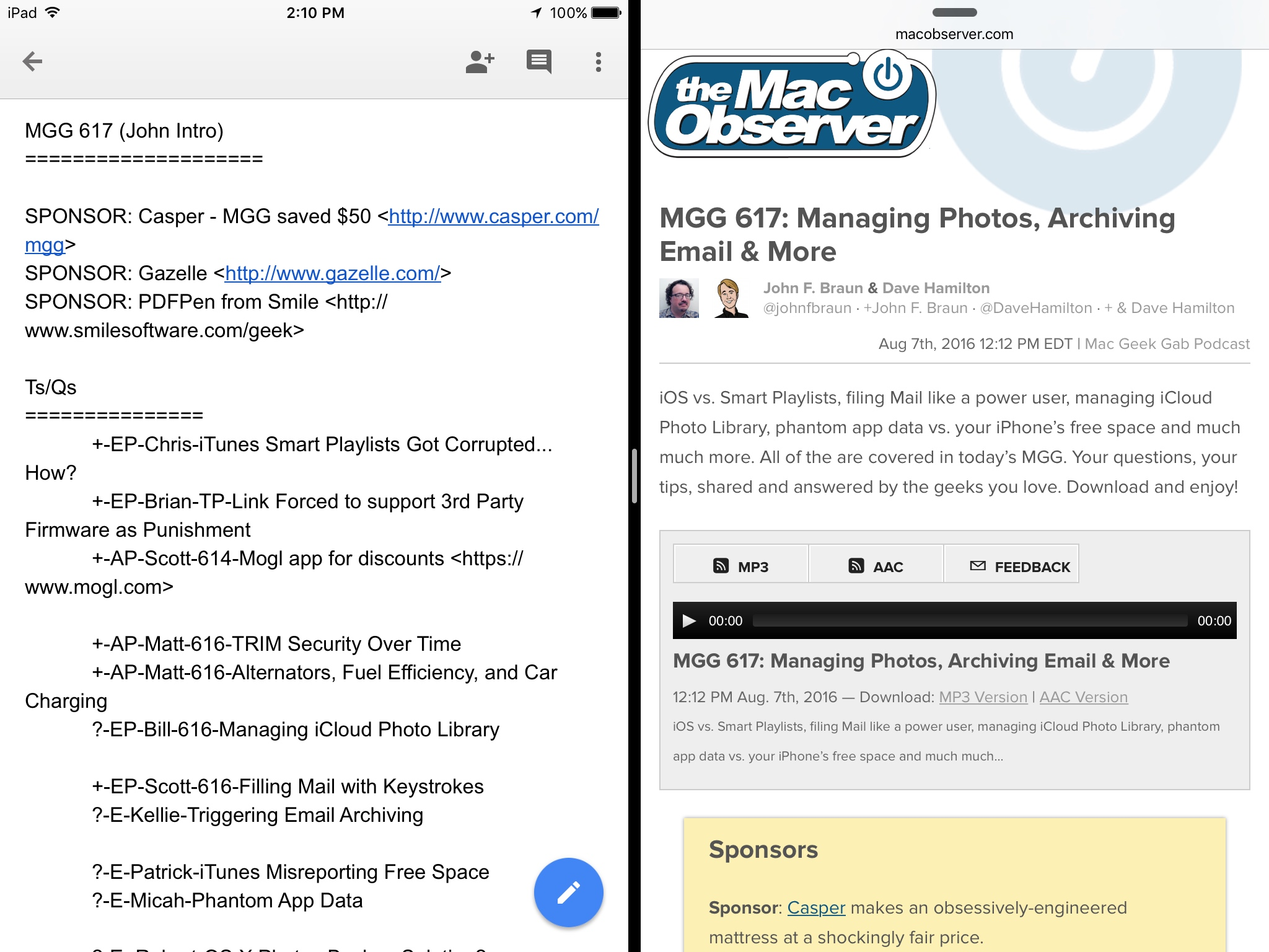 Google Docs, Sheets and Slides Get Split Screen on iPad