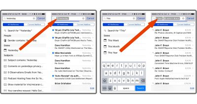 Searching for Yesterday and Last Year in iOS Mail is possible