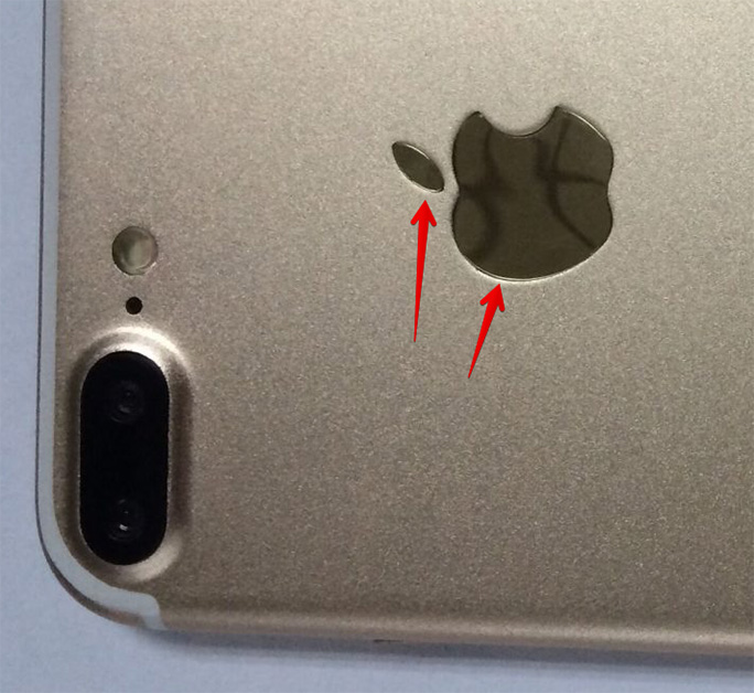 Fake Apple logo on iPhone 7