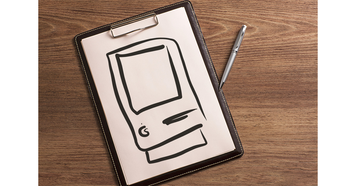 Mac on a clipboard