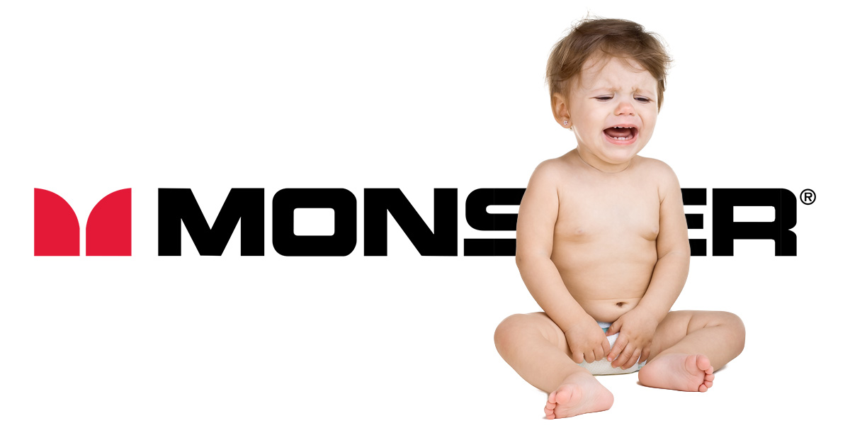 Monster logo with crying baby