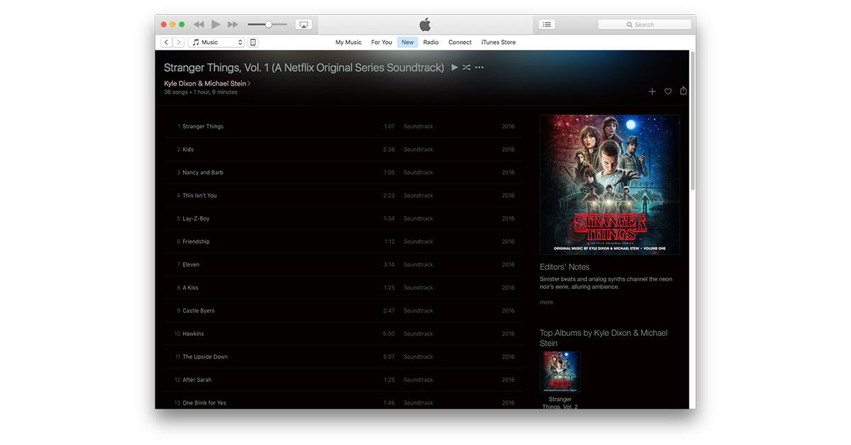 Stranger Things soundtrack on Apple Music