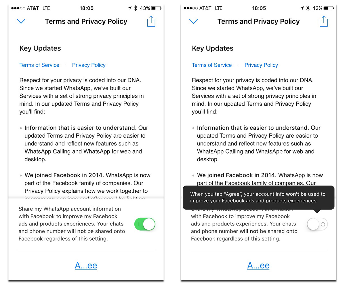WhatsApp Facebook account sharing opt out option