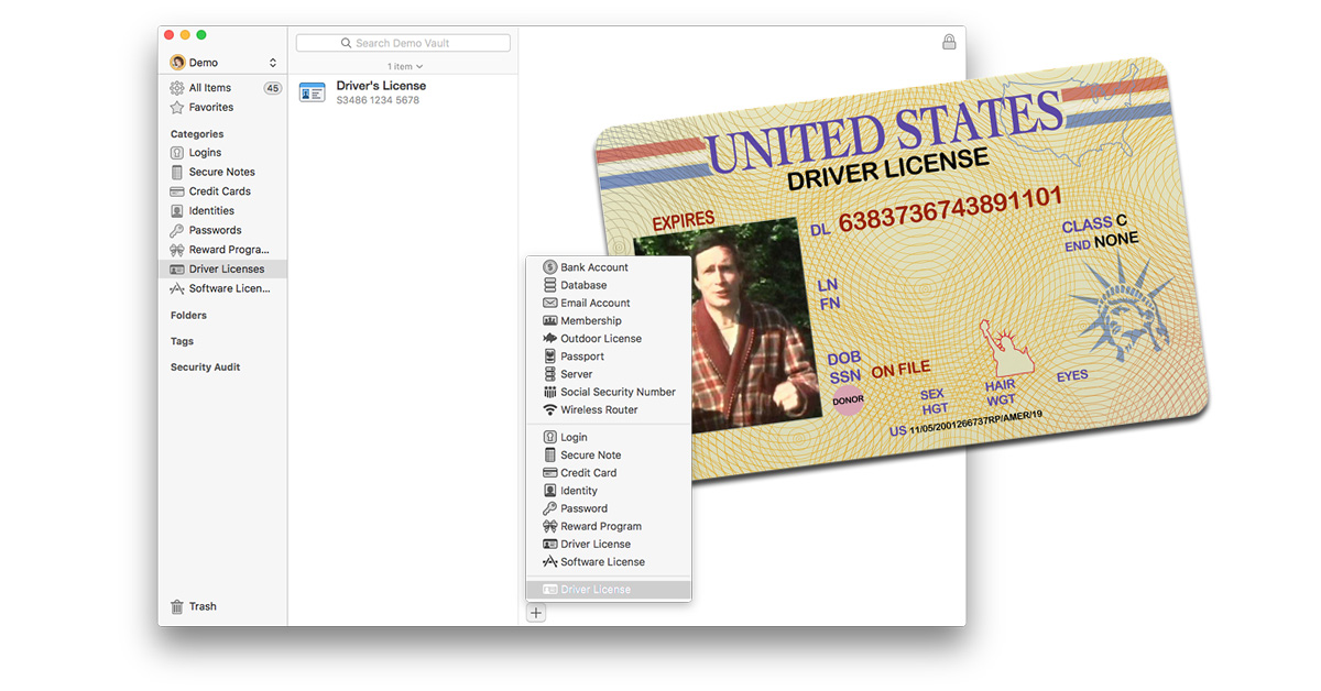 Store a photo of your drivers license in 1Password