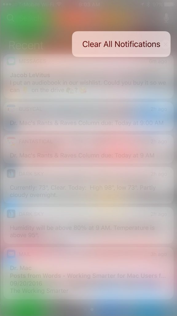 3D Touch makes Clear All Notifications a reality at long last!