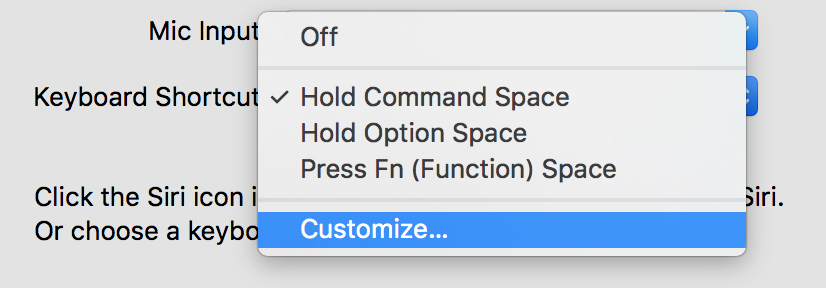 macOS Sierra Siri keyboard shortcut Drop-down