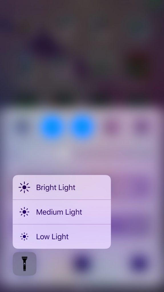iOS 10 Control Center force press