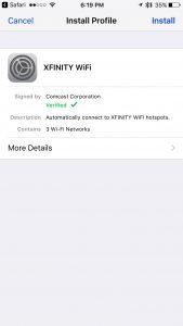 iOS Secure Profile Installation Screen