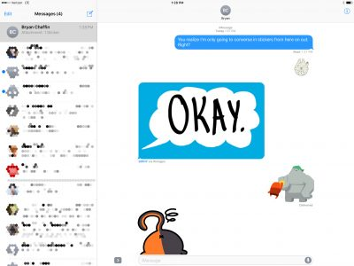 An iMessage conversation in stickers and GIFs