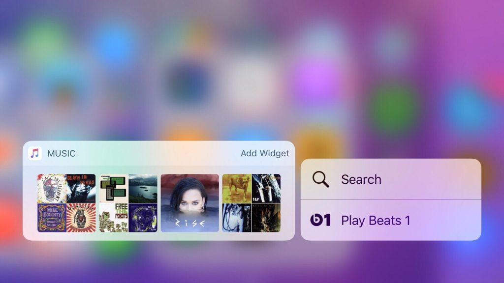 3D Touch widget Music