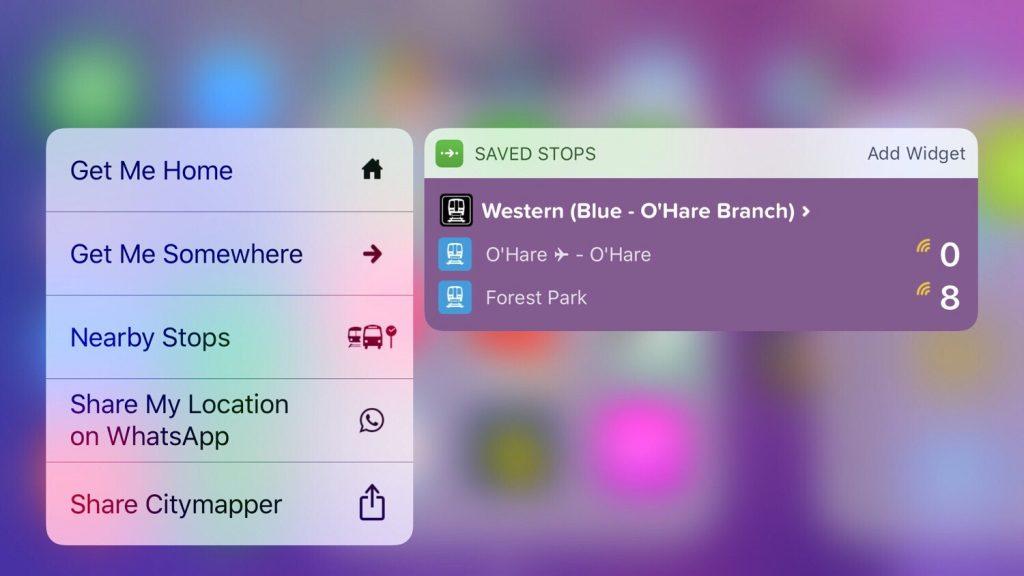 3D Touch widget Transit