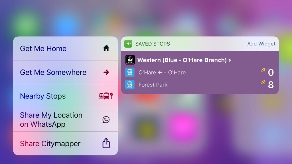 3D Touch widget Transit